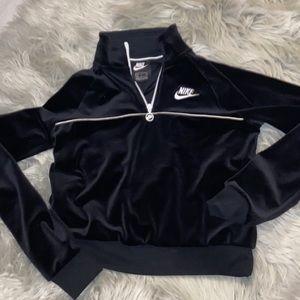 Velvet Nike Cropped Quarter Zip Pullover NEW